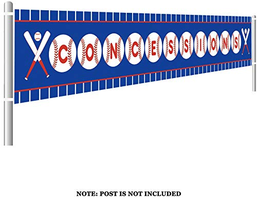 Large Baseball Concessions Birthday Banner, Happy Birthday Banner, Baby Shower Sports Themed Decoration (9.8 x 1.5 feet)