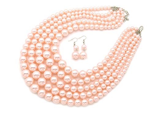 - Fashion 21 Women's Five Multi-Strand Simulated Pearl Statement Necklace and Earrings Set (Light Pink)