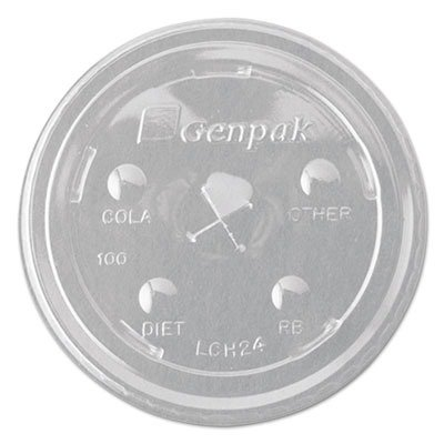 Genpak LCH24-CL Clear Flat Lid with Straw Slot Fits on 16-24 oz Drinking Cups (Case of (22 Ounce Cup Case)