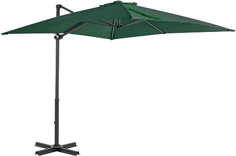 mewmewcat Sombrilla Parasol Voladiza para Terraza Jardín Playa Piscina Patio Verde 250x250 cm: Amazon.es: Deportes y aire libre
