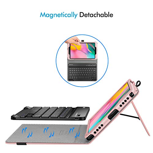Fintie Folio Keyboard Case for Samsung Galaxy Tab A 8.0 2019 Without S Pen Model (SM-T290 Wi-Fi, SM-T295 LTE), Premium PU Leather Stand Cover w/Removable Wireless Bluetooth Keyboard, Rose Gold