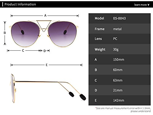 para PC Aviator Fashion UV400 HD Oversized Reflective Frame Sunglasses Protection Lens con Oval Eyewear Mujeres Amarillo ATNKE Hombres 84qdIx8w