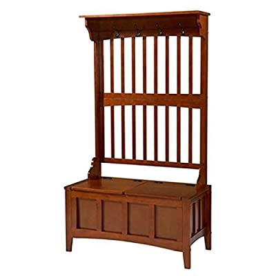 BOWERY HILL Hall Tree with Storage Bench in Walnut - 250lbs - chairs Provides function and style to any room in your home. Features four coat hooks - hall-trees, entryway-furniture-decor, entryway-laundry-room - 41R6 EXQRCL. SS400  -