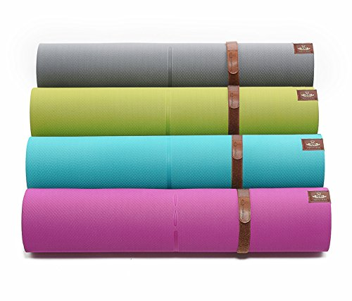PREMIUM TPE YOGA MAT by Heathyoga: High Density Light Weight Non Slip Eco-Friendly, Unique Auxiliary Line Design, Size: 71