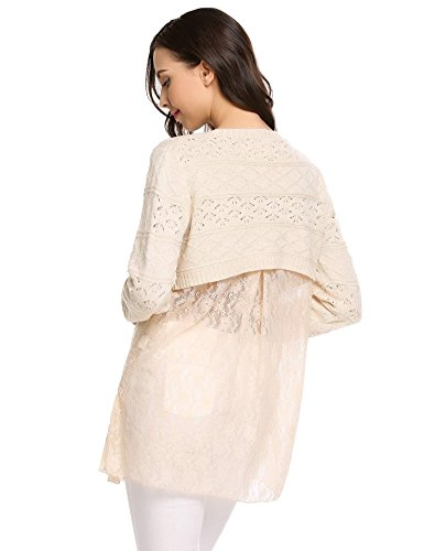 Zeagoo Women Casual Long Sleeve Lace Hem Lightweight Knit Sweater Pullover Tunic Tops Cream (Lace Wool Sweater)