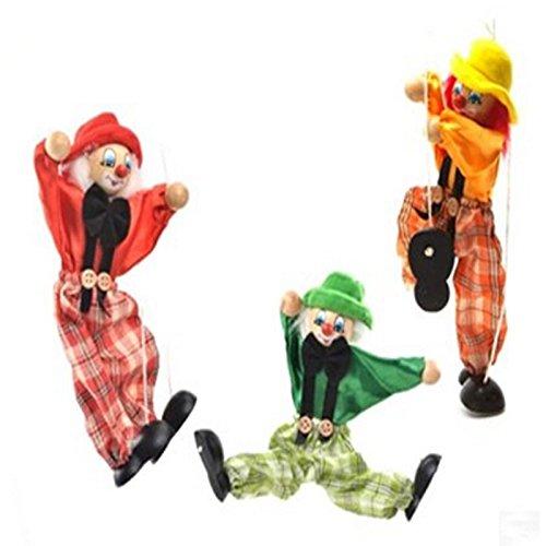 Wooden marionette PULL clown toys for children(red)