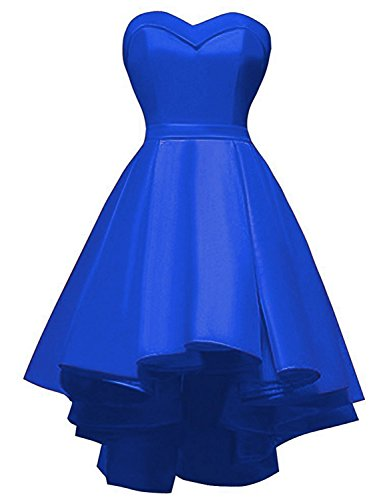 YIRENWANSHA 2018 Prom Dresses Plus Size Sweetheart Neck Homecoming Dress High Low for Girls Elegant Satin Knee Length Short Party Gowns Strapless Empire Waist Formal Gown YW22 Royal Blue Size (Empire Strapless Short)