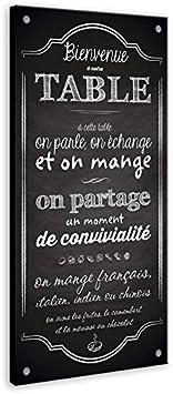 Vertikale D/écoration Murale Tableau Toile Citation Bienvenue /à Notre Table Fond Ardoise 120 x 60 cm