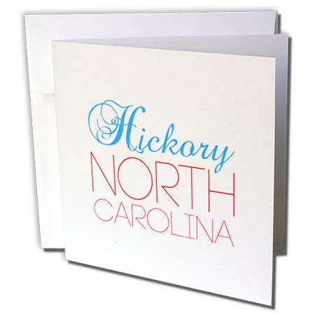 3dRose Alexis Design - American Cities North Carolina - Hickory, North Carolina, red, Blue Text. Patriotic Home Town Gift - 12 Greeting Cards with envelopes (gc_303468_2) (Hickory Carolina North)