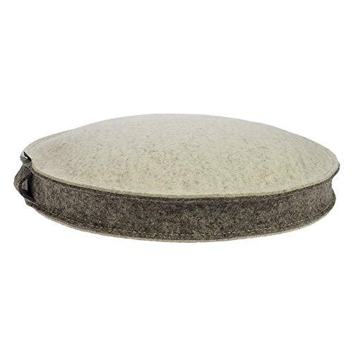 ebos Yogakissen aus 100% Merino-Wollfilz mit Bio-Dinkelspelz-Füllung, rund, Sitzhöhe 10 cm, Durchmesser 40 cm…