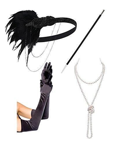 [Black Gold Headbpiece Vintage 1920s Headband Flapper Great Gatsby Flapper Set(black set)] (1920's Flapper Costumes Accessories)