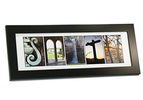 Creative Letter Art - Personalized Framed Name Sign with Nature Related Alphabet Photographs including Black Self Standing Frame