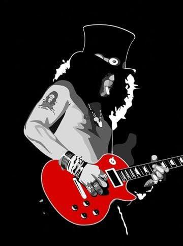Guns N Roses imagenation - Slash guitarra roja - lámina de ...