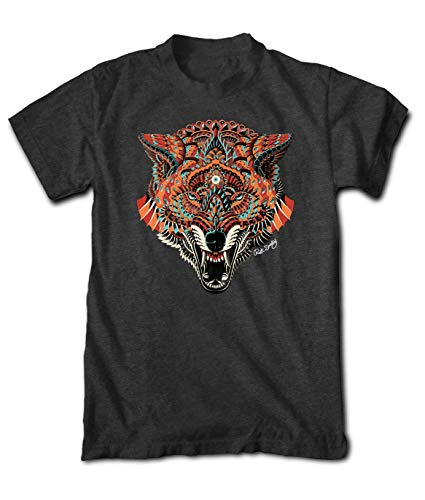 Riot Society Ornate Wolf Mens T-Shirt - Heather Charcoal, Large