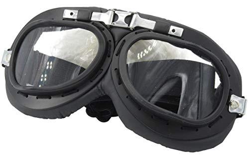 Yarizm Sports Vintage Aviator Pilot Style Goggle, Black Color Padding, Black Color Frame (Transparent Lens) ()