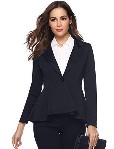 Aibrou Womens Casual Work Office Open Front Blazer Jacket Notch Lapel Sharp Navy Blue