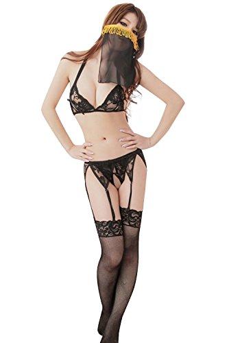 (paplan Women's Open Chest Pajamas Suit Veil Fishnet Stockings Underwear)