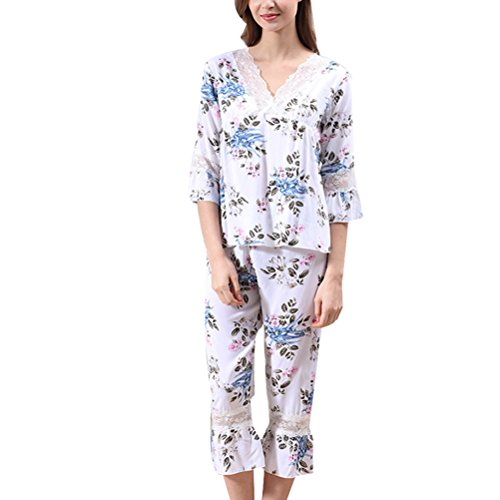 Zhhlinyuan Womens Comfortable Sleepwear Fashion Printing V-collar Elegant Pyjama Set White