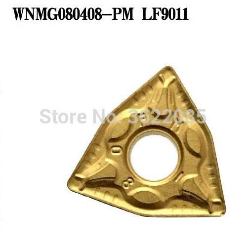 FINCOS 10pcs WNMG080408-PM LF9011 CVD Coated Turning Inserts For Steel - (Angle: R0.8) ()