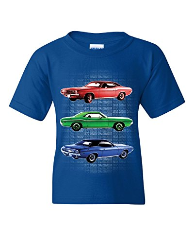 1970 Dodge Challenger Youth T-Shirt 1st Gen T/A Classic Muscle Car Royal Blue XL