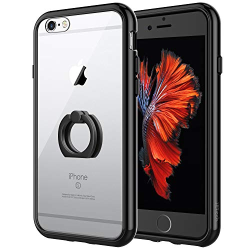 JETech Case for Apple iPhone 6s and iPhone 6, [Ring Holder Kickstand] Cover, Shock-Absorption Bumper, Black