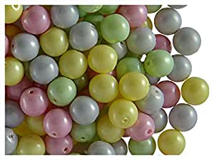 50perlas de perlas de cristal de Checa ESTRELA Redondo 6mm, Mix Pastel