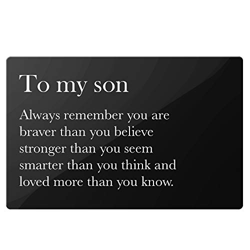 Son Gifts from Mom Dad - Inspirational Motivational Quotes Engraved Metal Wallet Inserts - Best Love Note Cards Gift Ideas for Him Son Graduation Birthday Christmas Coming of Age Gifts (Best Credit Card For High School Graduate)
