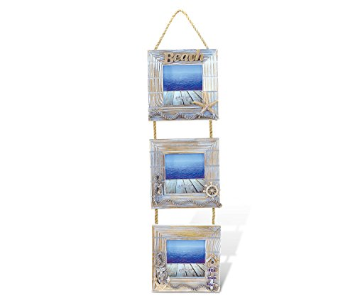 """Puzzled Wooden """"Baja Beach"""" 3 Picture Frames, 4 x 4 Inch Sculptural Wood Photo Holder Intricate & Meticulous Detailing Art Handcrafted Hanging Wall Accent Accessory Coastal Nautical Themed Home Décor"""