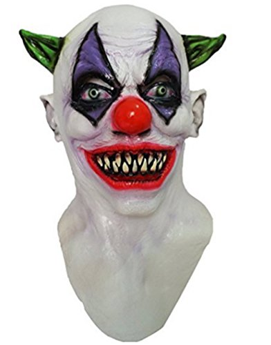 [GnG's Creepy Giggles Scary Clown Mask Halloween horror Circus Clown Full Head Latex Mask] (Giggles The Sexy Clown Adult Costumes)