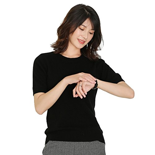 Panreddy Women's Cashmere Knitted Crewneck Short Sleeve Sweaters ,Crew_black,Large ()