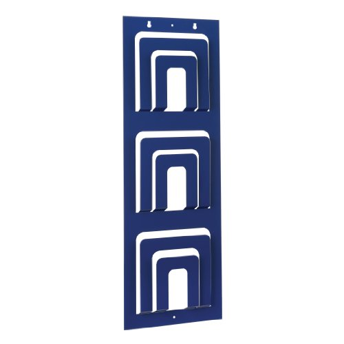 STEELMASTER Three-Tier, Six Pocket Magazine Rack, 31 x 10.56 x 1.2 Inches, Blue (264331108) (Pocket Magazine Vertical Rack)
