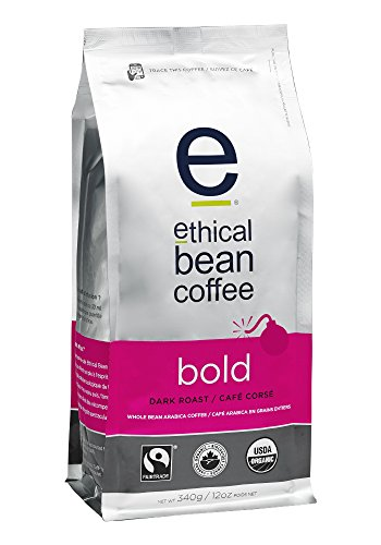Ethical Bean Coffee Bold: Single Origin Dark Roast Whole Bean Coffee - USDA Certified Organic Coffee, Fair Trade Certified - 12 ounce bag