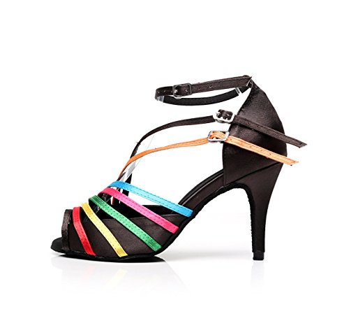 Salsa Heelsdiy Latino Samba Zapatos Sandals De heeled7 Mujer EU37 Our38 Dance UK5 Chacha Para C JSHOE Tango 5cm Jazz Baile High Modern wqggY