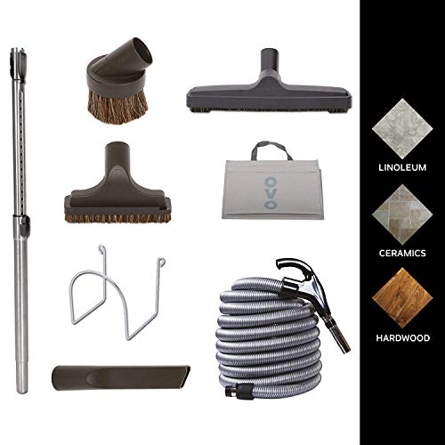 Nadair KIT-LV30D-OVO Central Vacuum Hardwood Floor Brush Cleaning Tools Attachment Kit - Tile Floors and Hard Surfaces - 30 ft. Switch Control Crushproof Hose and Deluxe 12'' Floor Brush, Black -