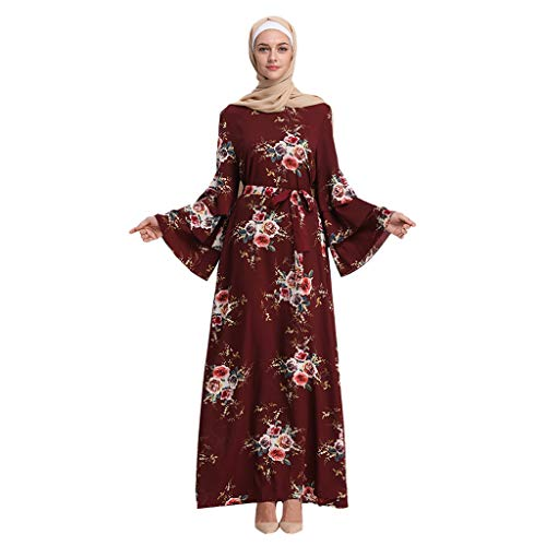 Clearance!Muslim Loose Ethnic Style Dress Summer Floral Print Trumpet Sleeve Embroidery Elegant Swing Dress,Abaya Kaftan (XXL, Red)