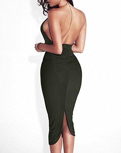Vestito Schienale Midi Matita Sottile Army Cocktail Sexy a Vestiti Abito Abiti Cerimonia il Halterneck Estivi Tubino Green Fashion Partito Sera Apri Petto Bodycon Donna da Senza wv8qxwT0P