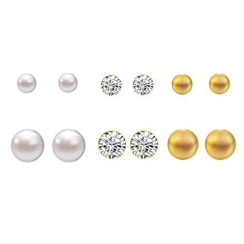 Lureme Fashion 6 Pairs Round Ball in Faux Pearl, Pave Crystal, Base Metal Stud Earrings Set(02004677-parent) (Gold Tone)