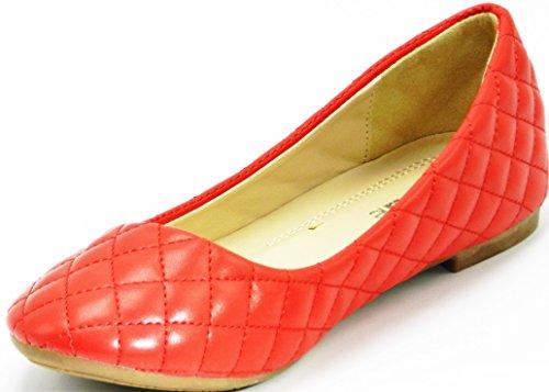 Vrouwen Lakleder Gewatteerde Slip Op Ballet Platte Ronde Neus Schoenen Rood