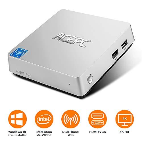 Mini PC,ACEPC T11 Mini Fanless Desktop Computer Windows 10 64-bit Intel Atom x5-Z8350 Processor,4GB DDR3/32GB eMMC,2.4/5G Dual Band WiFi BT 4.2 with HDMI and VGA Ports,4K HD