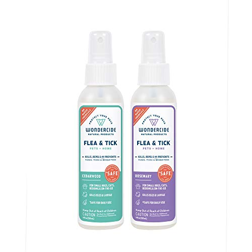(Wondercide Natural Flea, Tick and Mosquito Spray for Dogs, Cats, and Home - Flea and Tick Killer, Prevention, Treatment - 4 oz Rosemary & Cedarwood 2-Pack)