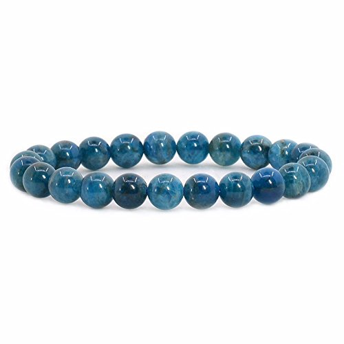 Gemstone Bracelet - Natural Apatite Rock Crystal Gemstone 8mm Round Beads Stretch Bracelet 7