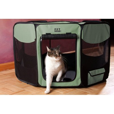 Deluxe Pet Pen Size: Large (28″ H x 46″ W x 46″ D), Color: Sage