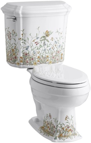 Kohler K-14247-FL-0 English Trellis Design on Portrait Toilet, White
