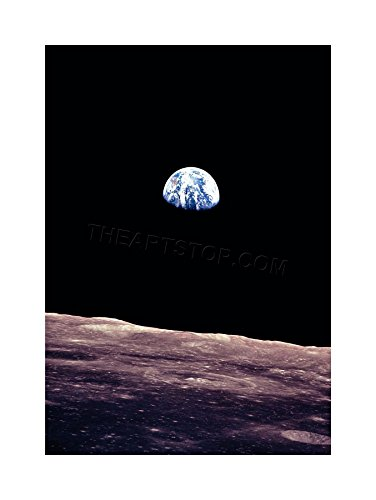 The Art Stop Space Photo Planet Earth Lunar Surface Moon Cool USA Framed Print ()