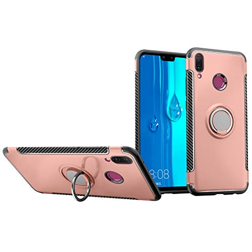 Case for Huawei Y9 2019 DWaybox Hybrid Back Case with 360 Degree Rotation Ring Holder for Huawei Y9 2019/Enjoy 9 Plus 6.5 Inch Compatible with Magnetic Car Mount Holder (Rose Gold) ()