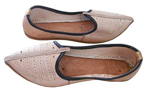 KALRA Creations Herren Traditionelle indische Leder Designer Schuhe Camel
