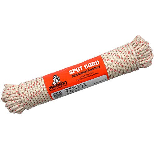 (100 Foot Hank of 1/4 Inch Solid Braid Spot Sash Cord – Nylon Reinforced Core with Cotton Sheath – Natural White with Interwoven Red Spots – for Window Sash Cord, Clothesline, Pully Line, and Halyards)