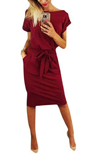 065faf7a434a6 Jaycargogo Women Summer Casual Short Sleeve Solid Round Neck Midi Dress  with Belt Wine Red
