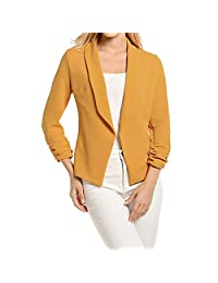 JSPOYOU Women 3/4 Sleeve Blazer Open Front Short Cardigan Suit Jacket Work Office Coat
