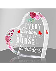 PETCEE Every Love Story is Beautiful Keepsake and Paperweight for Her Him,Anniversary Wedding Gifts for Wife Fiancee from Husband Fiance Valentines Day Birthday Gifts for Girlfriend from Boyfriend